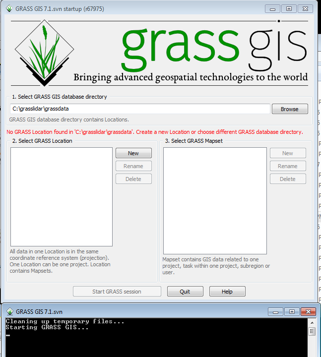 Initial GRASS startup screen on Windows