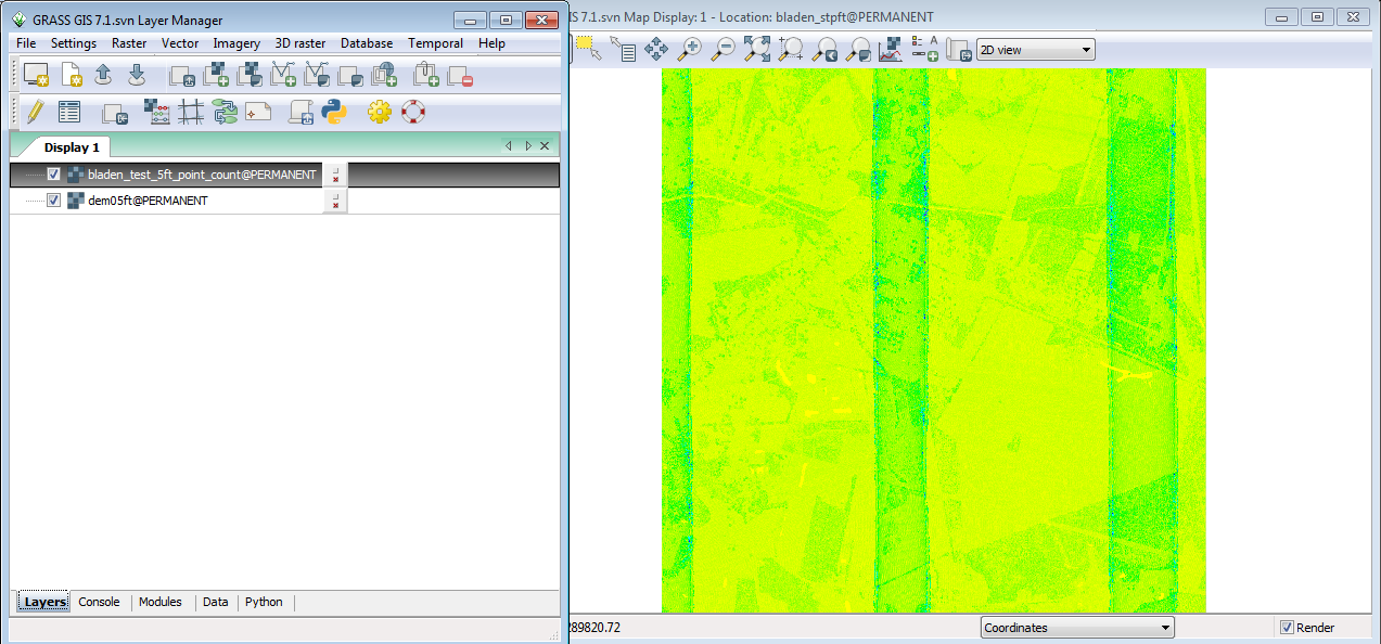 r.in.lidar Count example Tab