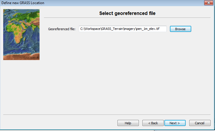 Georeferenced file selection dialog
