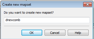 Create new mapset dialog