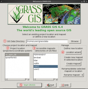 GRASS GIS start-up window