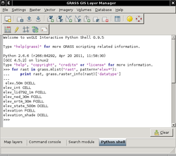 Embedded interactive Python Shell in wxGUI Layer Manager